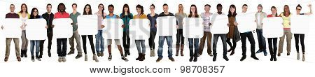 Group Of Young Multi Ethnic People Holding Copyspace For Twelve Letter Or Text
