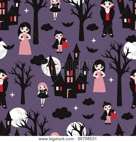 Seamless kids vampires bats and castle illustration cute vampire family background pattern in vector