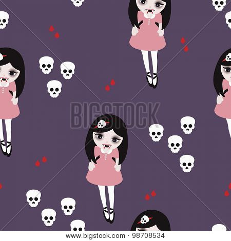 Seamless sweet little pirate girl drops of blood and skulls kids background illustration pattern in vector