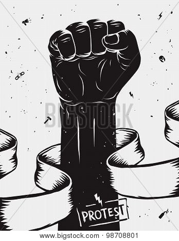 Protest Background, Raised Fist Held In Protest. Vector Illustration