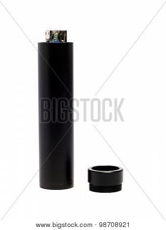 External Battery In A Black Metal Cylinder