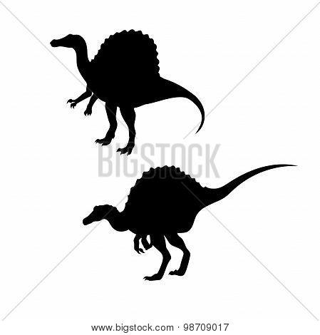 Spinosaurus dinosaur vector silhouettes.