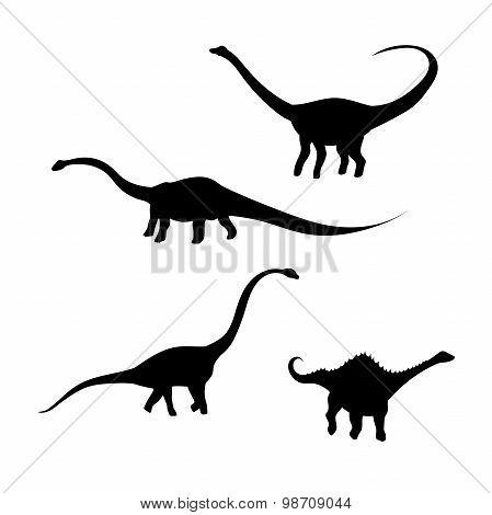 Diplodocus dinosaur vector silhouettes.