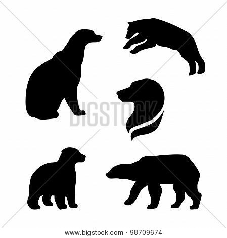 Polar bear vector silhouettes.