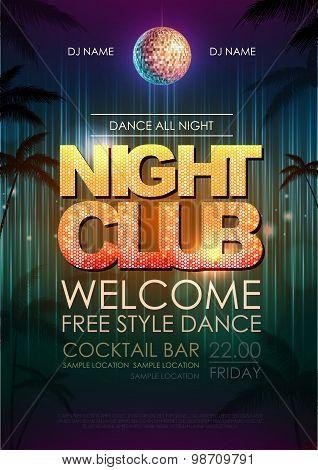 Typography Disco Background. Disco Poster Night Club