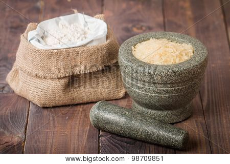 Rice Grains In The Mortar And Flour