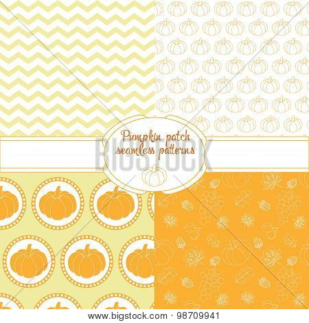 pumpkins seamless pattern set