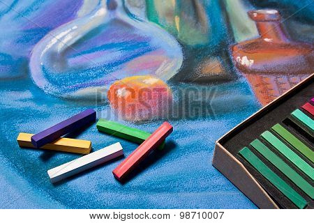 Artists Pastels And Original Pastel Drawing Of Still Life.