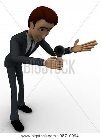 3D Man Speak In Mic Concept