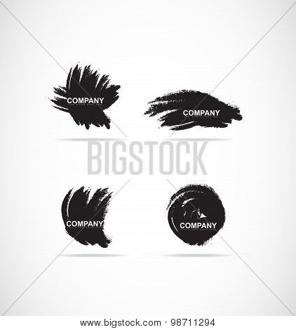 Grunge Brush Logo Icon Set