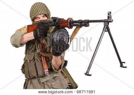Insurgent Wearing Keffiyeh With Machine Gun