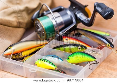 Closeup Fishing Baits Wobblers In Box