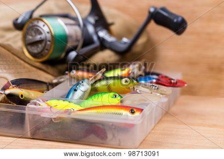 Closeup Fishing Baits Wobblers In Box