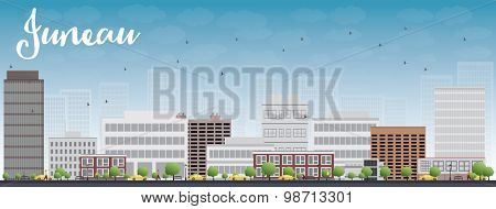Juneau (Alaska) Skyline with Grey Building and Blue Sky. Vector Illustration