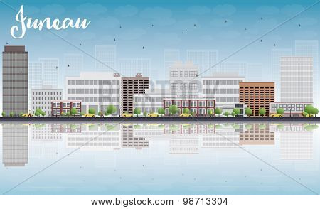 Juneau (Alaska) Skyline with Grey Building, Blue Sky and reflections. Vector Illustration