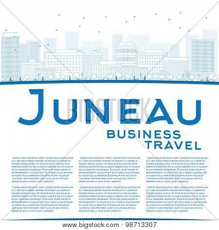 Outline Juneau (Alaska) Skyline with Blue Building. Business travel concept. Vector Illustration