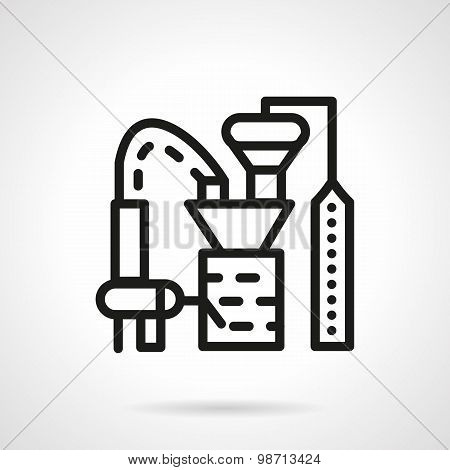 Processing crops factory line vector icon