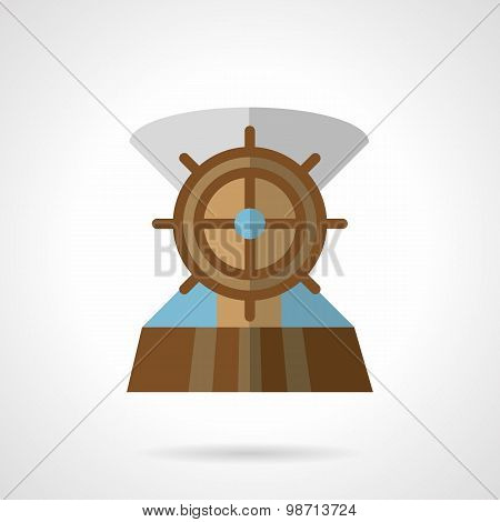 Wooden helm flat vector icon
