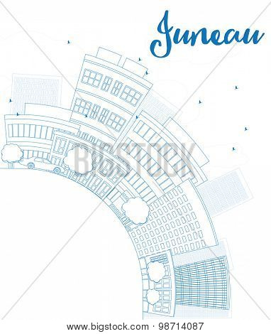Outline Juneau (Alaska) Skyline with Blue Building and copy space. Vector Illustration