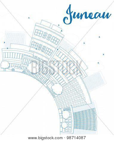 Outline Juneau (Alaska) Skyline with Blue Building and copy space. Vector Illustration