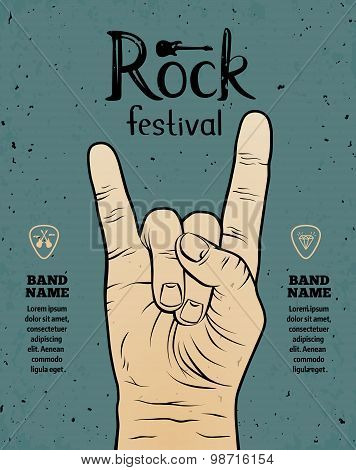 Vintage Rock Festival Flyer, Poster With Rock And Roll Hand Sign