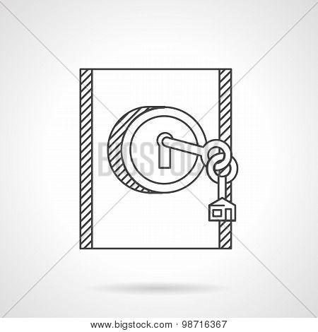 Lock with key line vector icon