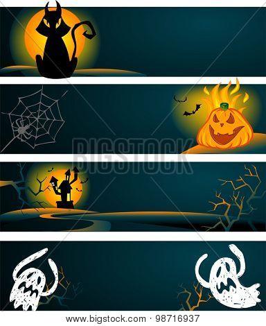 Spooky Halloween banners in vector format