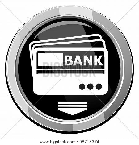 Credit Card ,vector, Black Round Icon