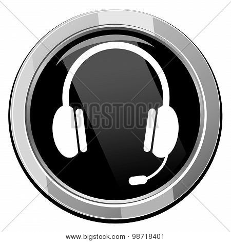 Vector Glossy Headset Web Icon Design Element.