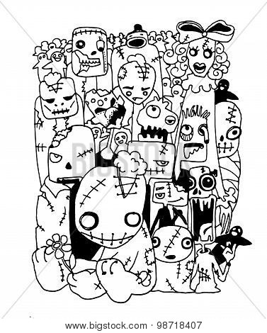 Vector Illustration Of Cute Zombies Characters Set. Vector Illustration.