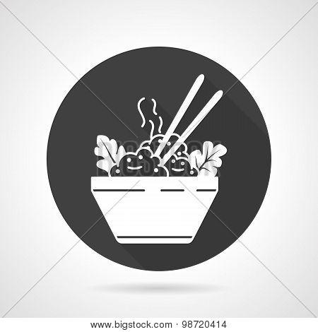 Rice dish black round vector icon