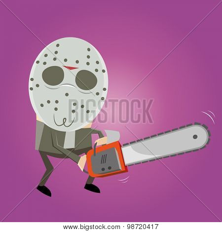 creepy guy with mask and chainsaw
