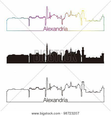 Alexandria Skyline Linear Style With Rainbow