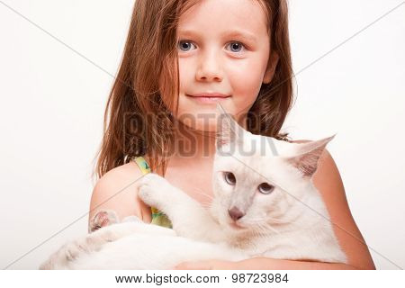 Emotional Young Girl With Cat.