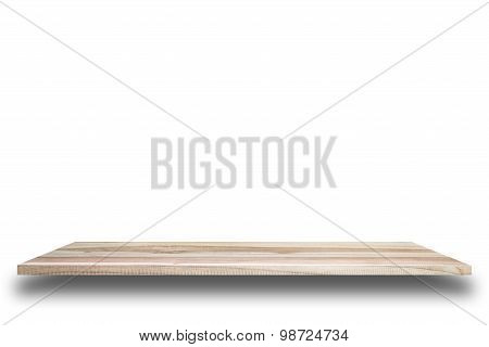 Empty Top Of Wooden Shelves Or Counter Isolated On White Background