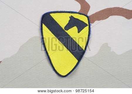 Kiev, Ukraine - May 18, 2015. Us Army 1St Cavalry Division Patch On Desert Uniform