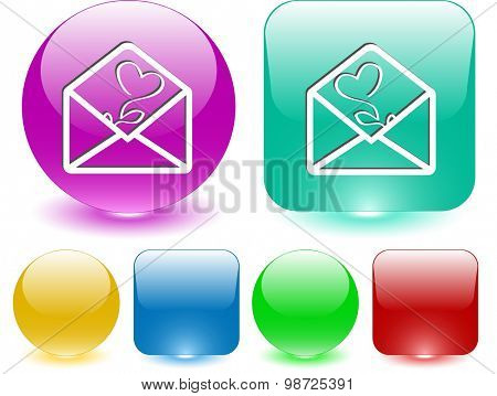 open mail with tulip. Vector interface element.