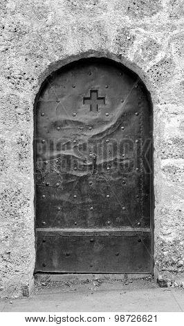 Old Studded Metal Door