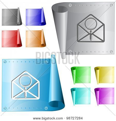 open mail with magnifying glass. Vector metal surface.