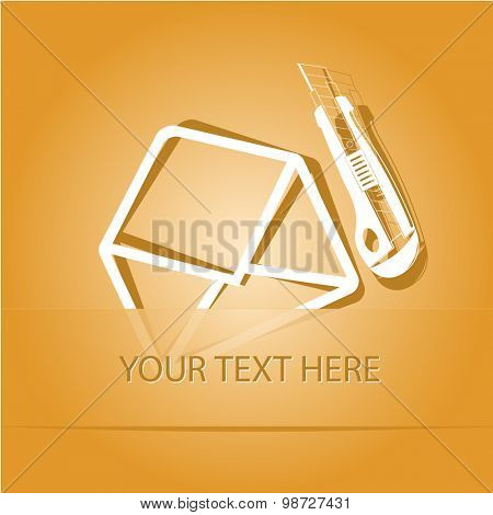 open mail with knife. Paper sticker as bookmark. Vector illustration. Eps10.