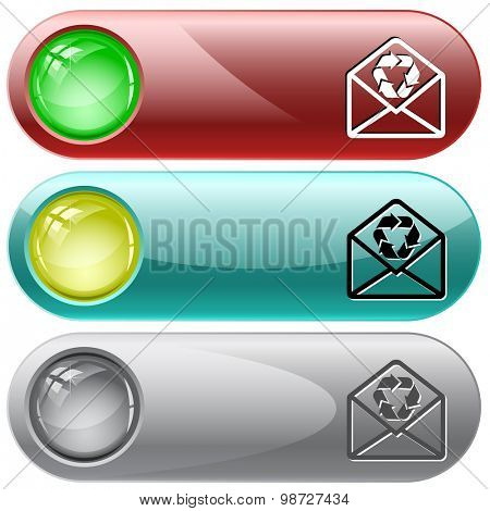 open mail with recycle symbol. Vector internet buttons.