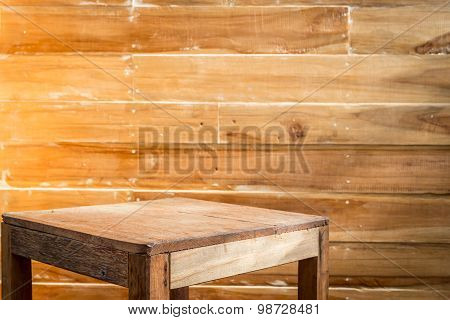 Empty Top Wooden Table And Wooden Wall Background