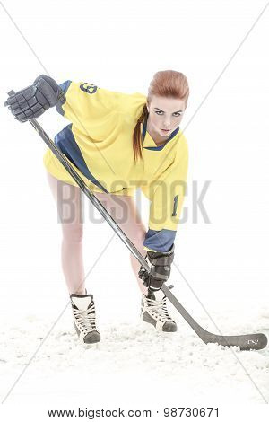 Girl hockey player