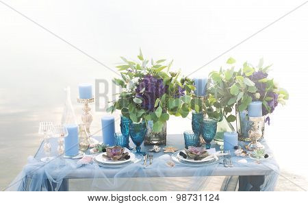 Exquisitely Served Table For Romantic Dinner