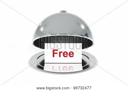 Silver Cloche With White Sign Free