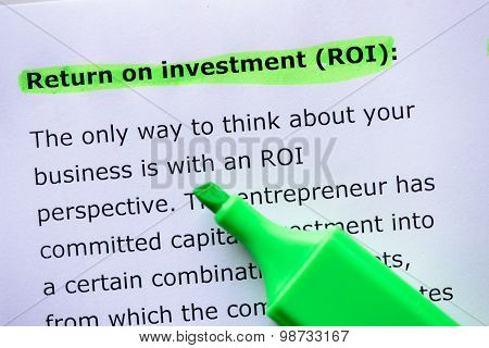 Return Of Investment, (roi)