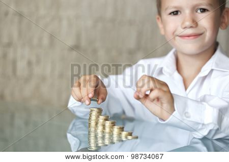 Little Boy With Coin Column