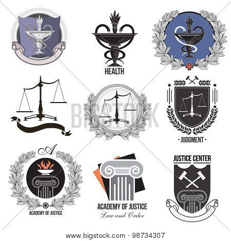 Set justice, Academy, health care logos, emblems and design elements.