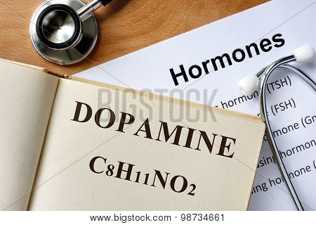 Dopamine word written on the book.