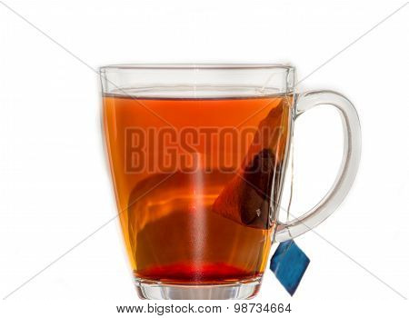 Transparent Tea Cup Having Tea And Teabag
